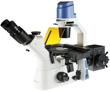 Mikroskop odwrócony Oxion Inverso ze stolikiem mechanicznym, fluorescencja, jasne pole