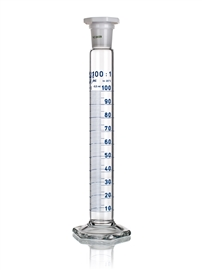Cylinder miarowy wysoki szklany, klasa A, skala niebieska, z korkiem z tworzywa sztucznego, Simax
