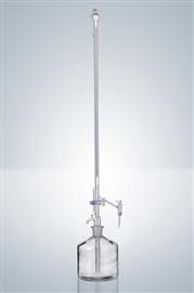 Biureta Pelleta, kran wypływowy i pośredni, szklany, klasa A (szkło białe)