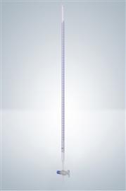 Biureta z kranem szklanym, klasa A (szkło białe, pasek Schellbacha)