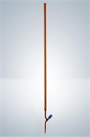 Biureta z kranem teflonowym, igłowym, klasa A (szkło oranż)