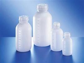 Butelka HDPE  z nakrętką, z podziałką, z szeroką szyją (naturalna)