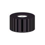 Nakrętka PP N 9  czarna z naciętą septą biały silikon/niebieski PTFE PTFE