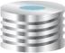 Nakrętka magnetyczna  N 18  srebrna z septą niebiesko-przezroczysty silikon/bialy PTFE