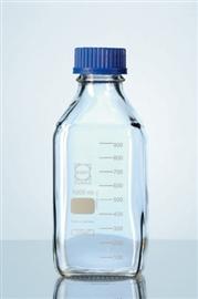 Butelka szklana z niebieską nakrętką, kwadratowa, Duran