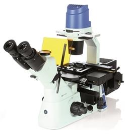 Mikroskop odwrócony Oxion Inverso ze stolikiem mechanicznym, fluorescencja, kontrast fazowy