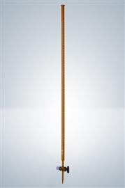 Biureta z kranem szklanym, klasa A (szkło oranż)