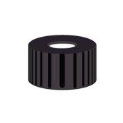 Nakrętka PP N 9  czarna z septą biały silikon/czerwony PTFE