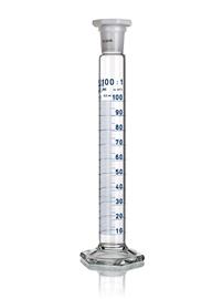 Cylinder miarowy wysoki szklany, klasa B, skala biała, z korkiem z tworzywa sztucznego, Simax