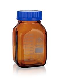 Butelka szklana kwadratowa oranż z niebieską nakrętką, Simax
