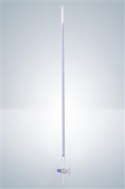 Biureta z kranem szklanym, klasa B (szkło białe, pasek Schellbacha)