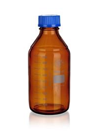 Butelka szklana oranż z niebieską nakrętką, Simax